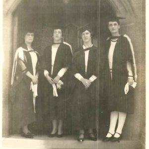 (L to R) Nora Hales MA Kit Benson BA Joan Spruson BSc Margaret Ryan BA 1931 (SSCA Photographs 1993B)