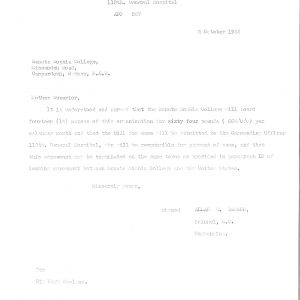 Letter to the College Principal re miltary nurses 1942