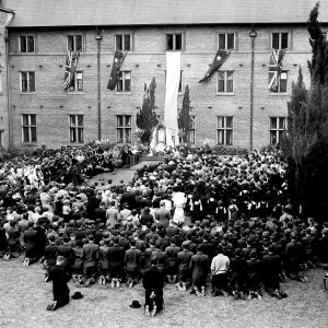 Pilgrim Statue of Our Lady of Fatima enshrined in Sancta Sophia College quadrangle 8 Oct 1951