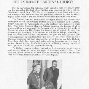 Report of visit of Cardinal Gilroy 24 April 1946