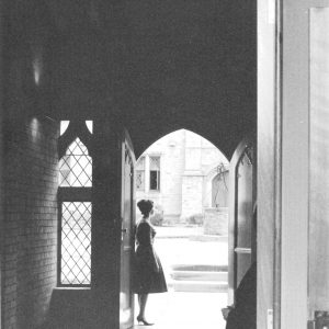 Sancta Sophia College quadrangle through Entrance Hall 1961