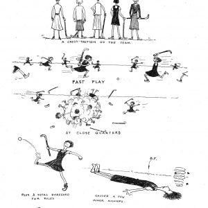 Sancta plays hockey from 1949 college magazine