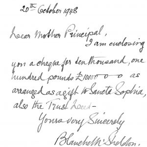 Letter dated 20 Oct 1948 from Lady Sheldon