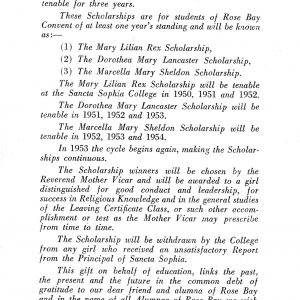 Notice of gift of Lady Sheldon for three scholarships