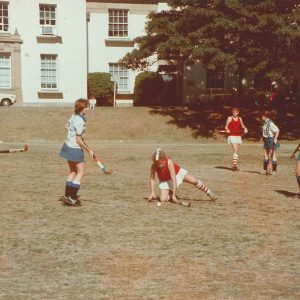 Hockey Sancta v Wesley 1986 (Sancta players L-R Kate Hannan, Liz Hannan, Sally Colgan)