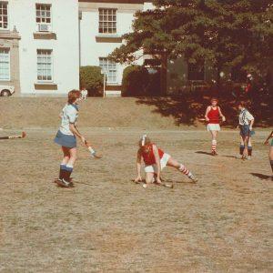 Hockey Sancta v Wesley 1986 (Sancta players L-R Kate Hannan, Liz Hannan, Sally Colgan)