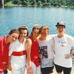 Sancta rowing 1991 (L-R Liz Smith, Fi Henry, Smone Lampard, Kate O'Brien, Louise Trott)