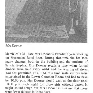 Twenty years at Sancta Mrs Dooner - from 1981 College magazine
