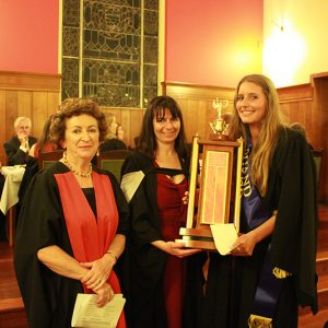 Dr Marie Leech (Right), Rachel Launders (Middle) presenting Award to student - Vale Dinner 2014