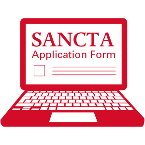 A graphic showing a laptop with a Sancta application form open on it.